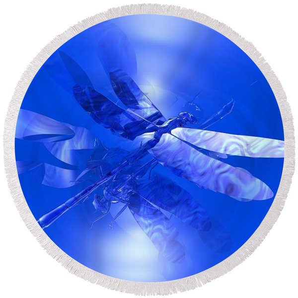 Blue Reflections Dragonfly Round Beach Towel