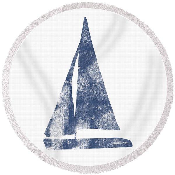 Blue Sail Boat- Art By Linda Woods Round Beach Towel