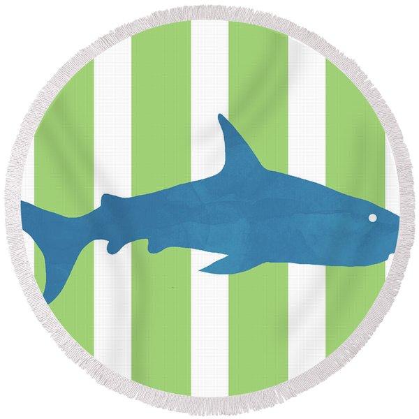 Blue Shark 2- Art By Linda Woods Round Beach Towel