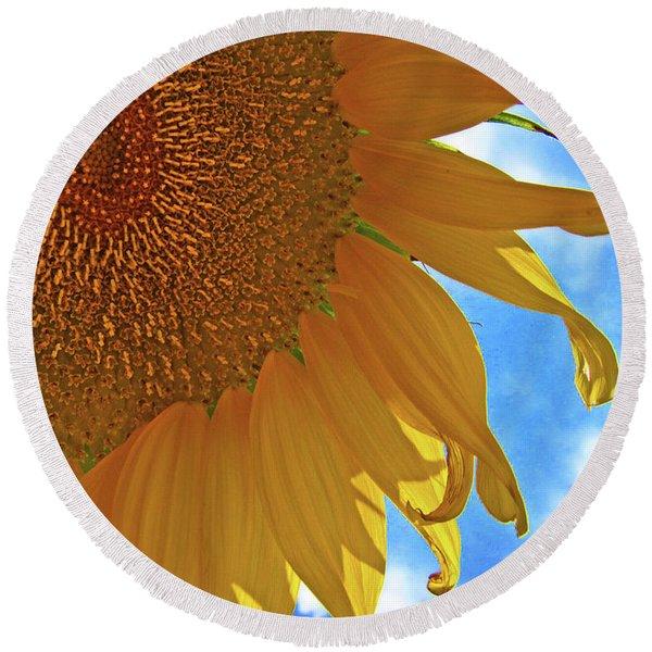 Blue Sky Sunflower Round Beach Towel