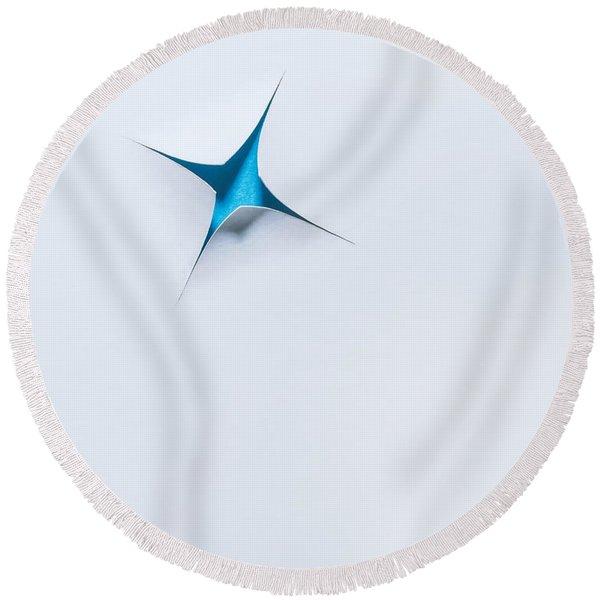 Blue Star On White Round Beach Towel