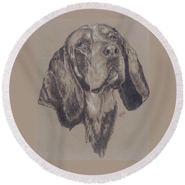 Bluetick Coonhound In Graphite Round Beach Towel
