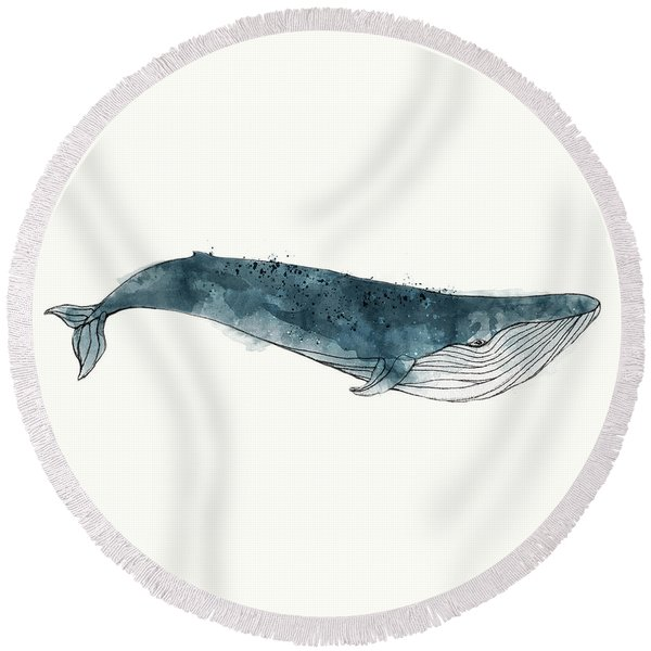 Blue Whale From Whales Chart Round Beach Towel