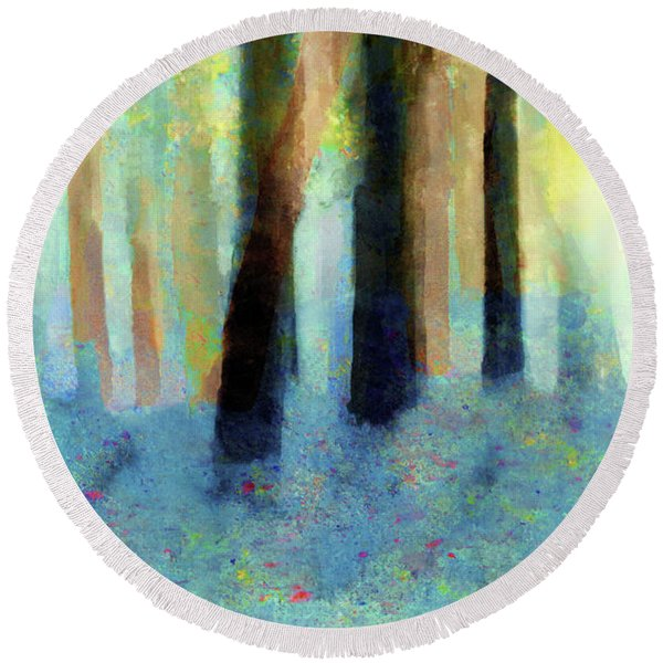 Bluebell Wood By V.kelly Round Beach Towel