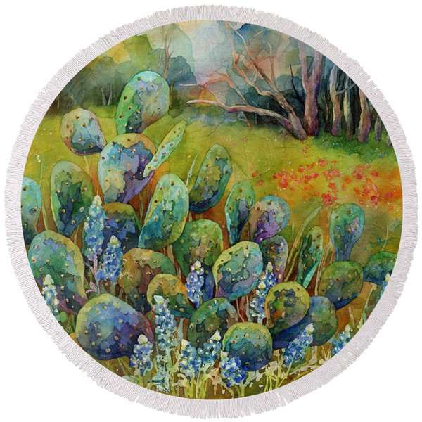Bluebonnets And Cactus Round Beach Towel
