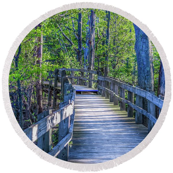 Boardwalk Going Into The Woods Round Beach Towel
