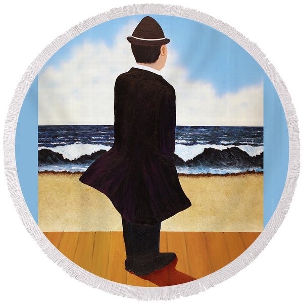Boardwalk Man Round Beach Towel