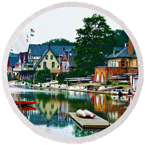 Round Beach Towel featuring the photograph Boathouse Row In Philly by Bill Cannon