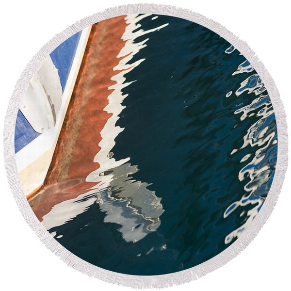 Boatside Reflection Round Beach Towel