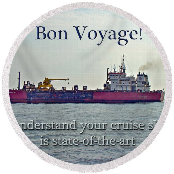 Bon Voyage Greeting Card - Enjoy Your Cruise Round Beach Towel