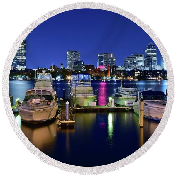 Boston Massachusetts Bay And Boats Round Beach Towel