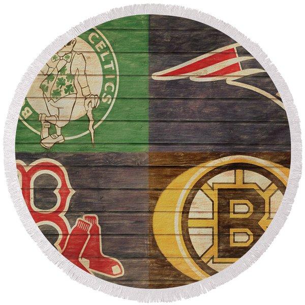 Boston Sports Teams Barn Door Round Beach Towel