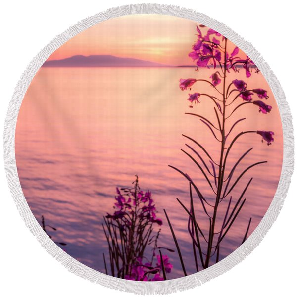 Round Beach Towel featuring the photograph Bouquet For A Sleeping Lady by Tim Newton