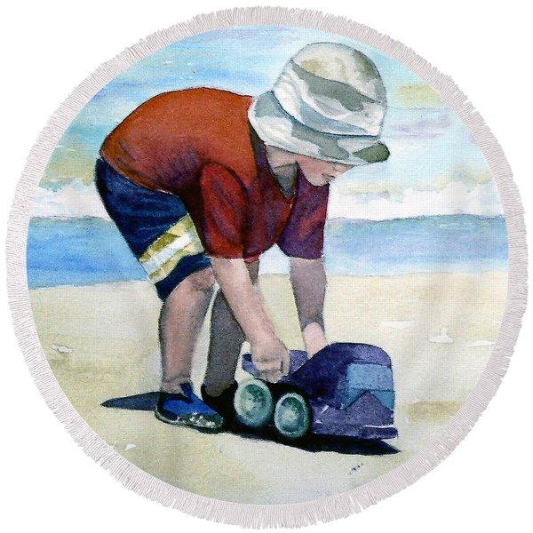 Boy With Truck Round Beach Towel