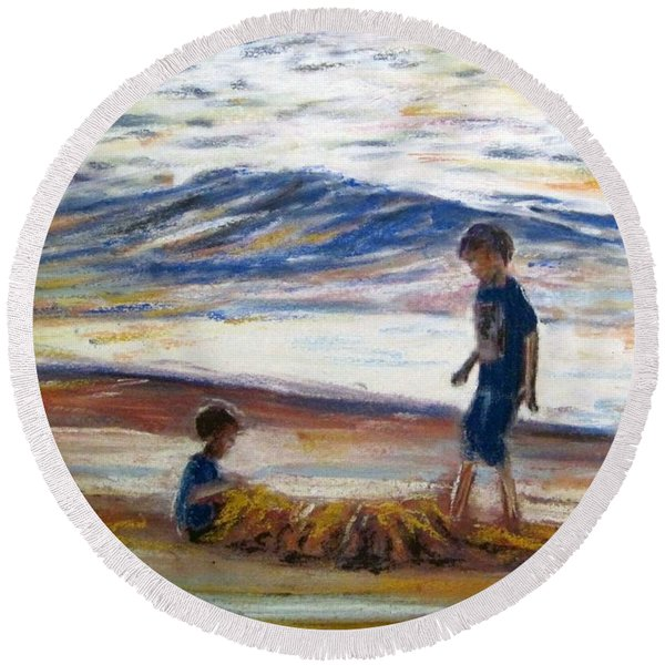 Boys Playing At The Beach Round Beach Towel