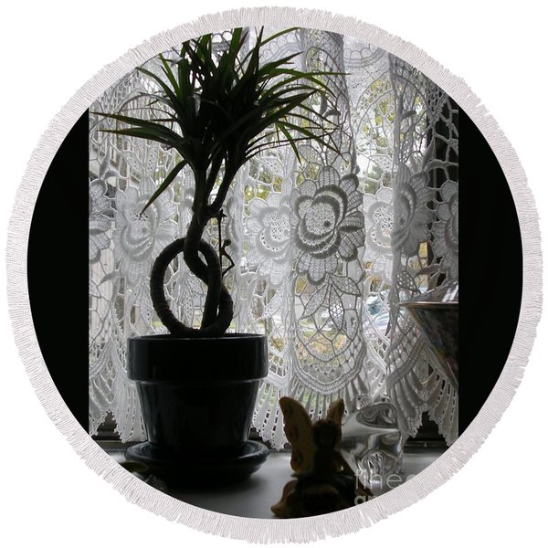 Braided Dracena On Sill Round Beach Towel