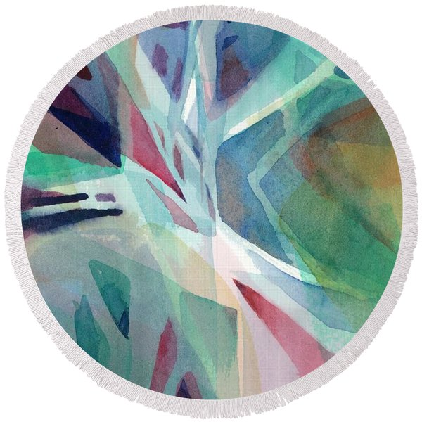 Round Beach Towel featuring the painting Branching Out by Carolyn Utigard Thomas