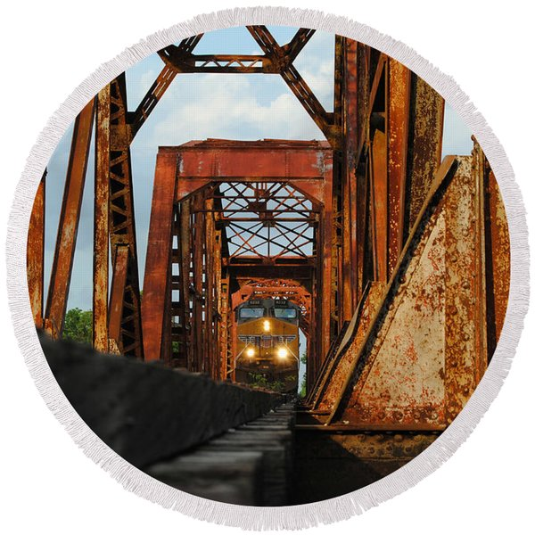 Brazos River Railroad Bridge Round Beach Towel