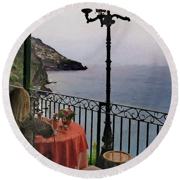 Breakfast At Il San Pietro Di Positano Italy Round Beach Towel