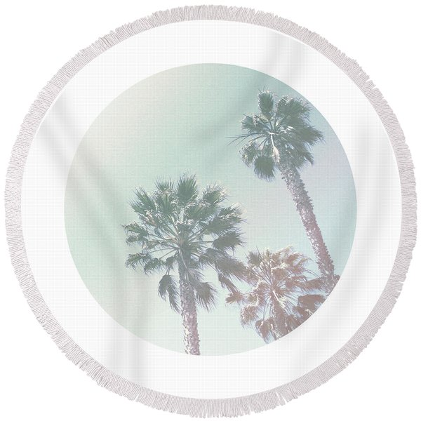Breezy Palm Trees- Art By Linda Woods Round Beach Towel