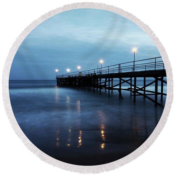 Bridge In The Sea Round Beach Towel