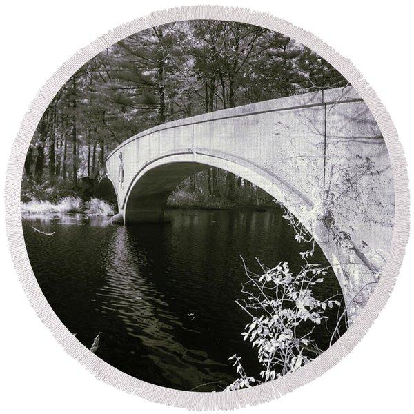 Bridge Over Infrared Waters Round Beach Towel