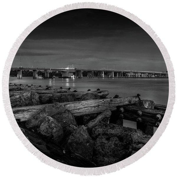 Bridge To Longboat Key In Bw Round Beach Towel