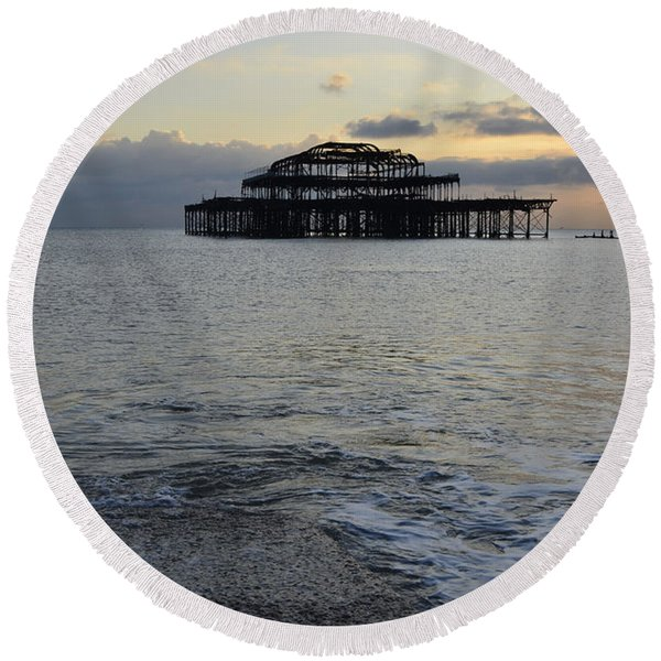 Brighton West Pier Round Beach Towel