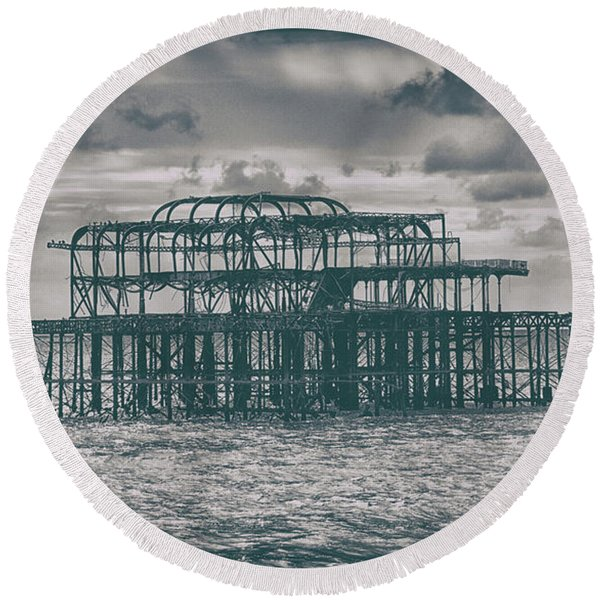Brighton's Old Pier Round Beach Towel