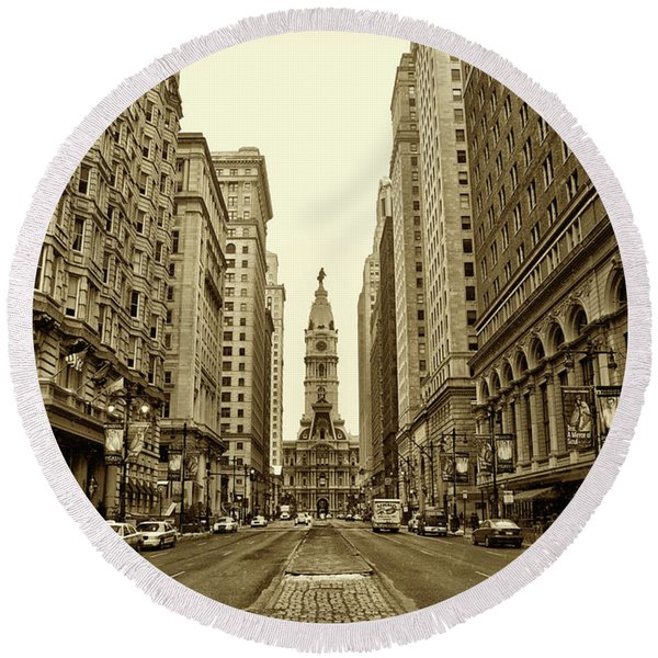 Round Beach Towel featuring the photograph Broad Street Facing Philadelphia City Hall In Sepia by Bill Cannon