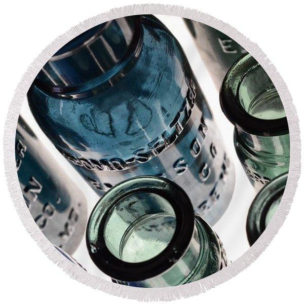 Bromo Seltzer Vintage Glass Bottles - Rare Green And Blue Round Beach Towel