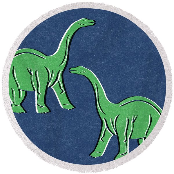 Brontosaurus Round Beach Towel