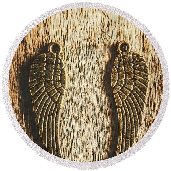 Bronze Angel Wings Round Beach Towel