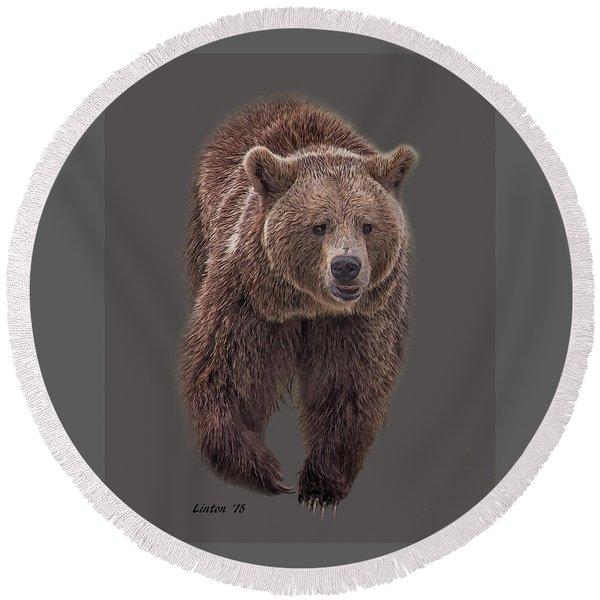 Brown Bear 8   Round Beach Towel