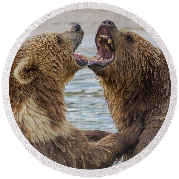 Brown Bears4 Round Beach Towel