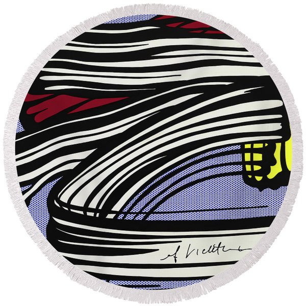 Brushstroke -1965 Round Beach Towel