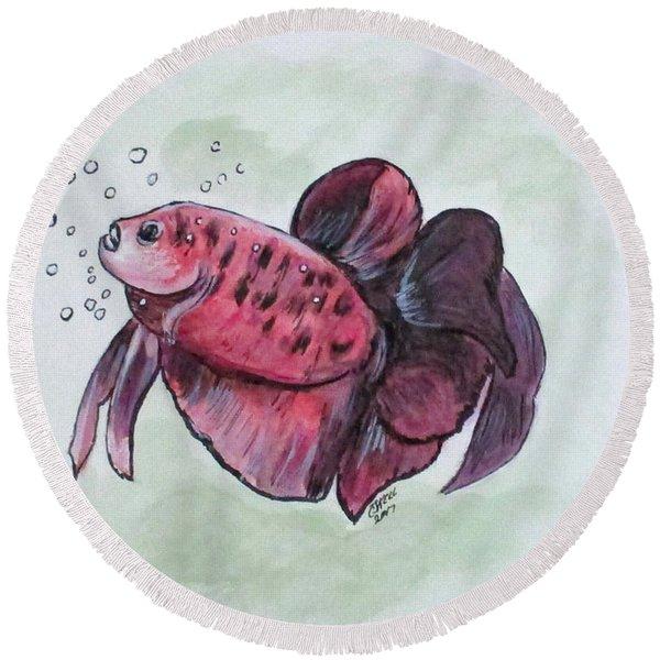 Bubbles, Betta Fish Round Beach Towel
