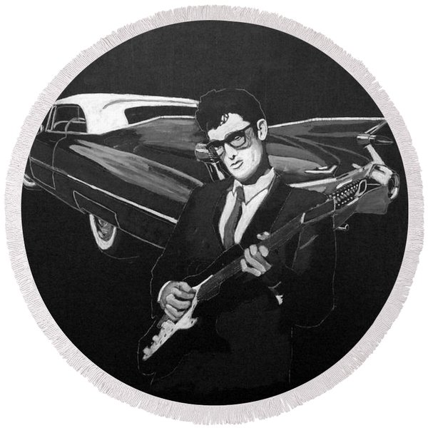 Buddy Holly And 1959 Cadillac Round Beach Towel