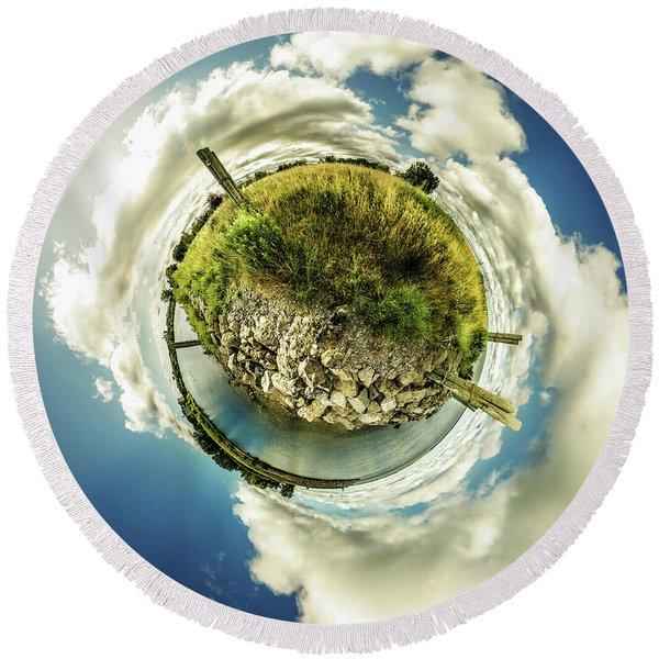 Buffalo Outer Harbor Sunrise - Tiny Planet Round Beach Towel