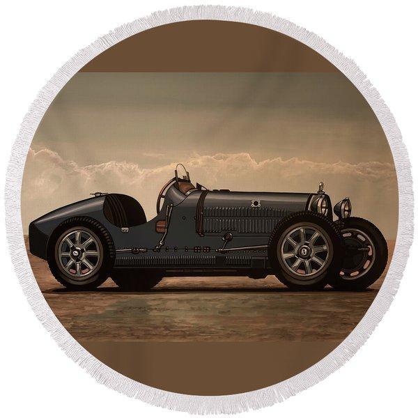 Bugatti Type 35 1924 Mixed Media Round Beach Towel