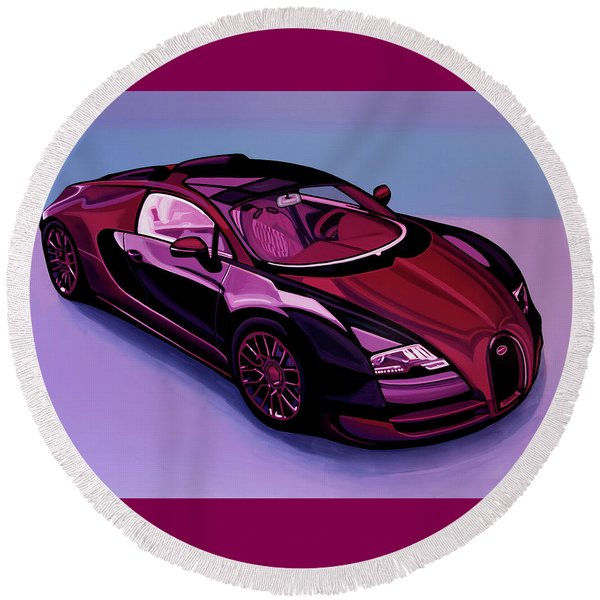 Bugatti Veyron 2005 Painting Round Beach Towel