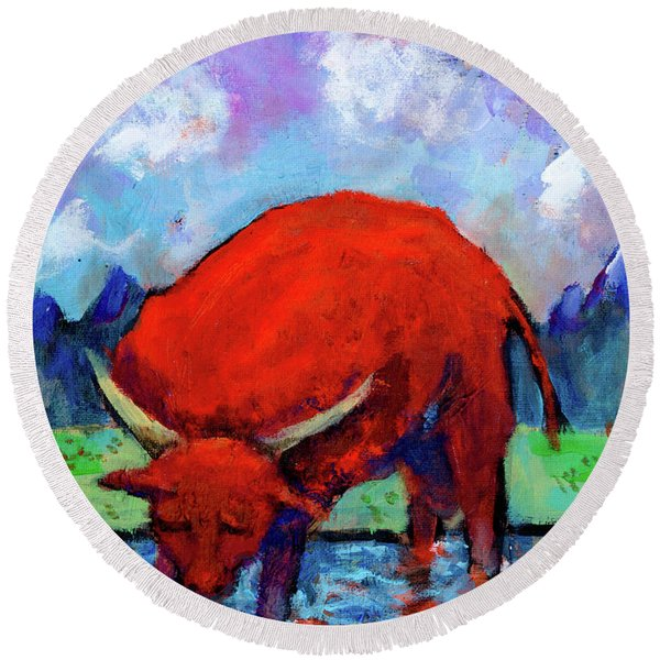 Bull On The River Round Beach Towel