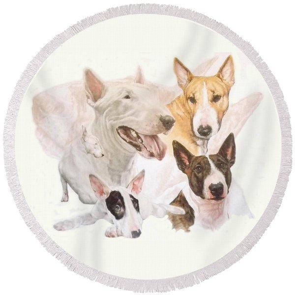 Bull Terrier Medley Round Beach Towel