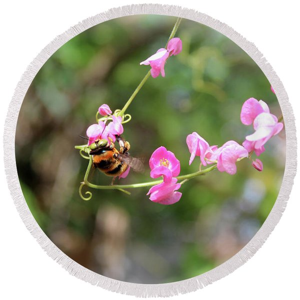 Round Beach Towel featuring the photograph Bumble Bee2 by Megan Dirsa-DuBois