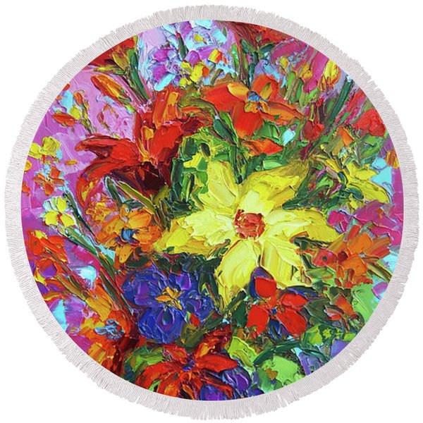 Colorful Wildflowers, Abstract Floral Art Round Beach Towel