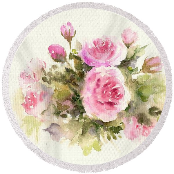 Bunch Of Roses Round Beach Towel