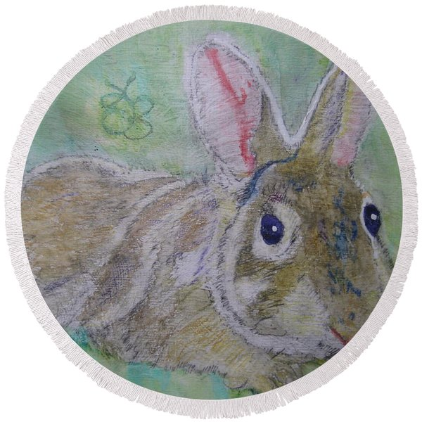bunny named Rocket Round Beach Towel