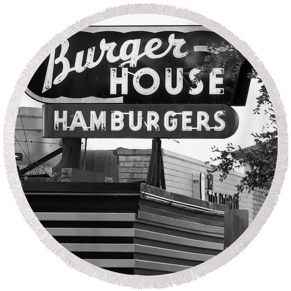 Burger House B W 062218 Round Beach Towel