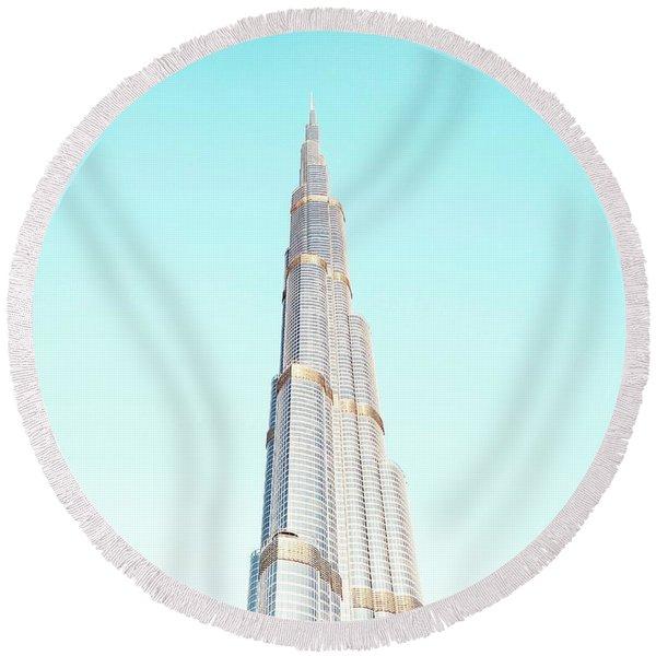 Burj Khalifa Round Beach Towel