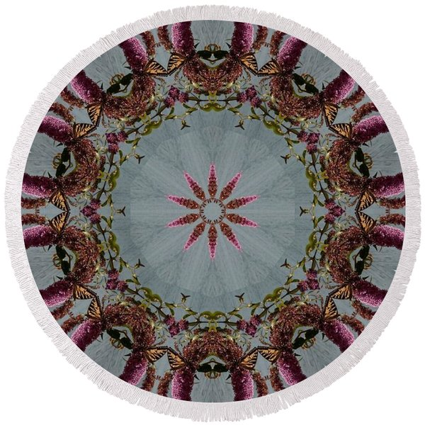Butterfly Bush Kaleidoscope Round Beach Towel